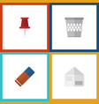 flat icon tool set of pushpin rubber trashcan vector image vector image