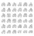 food truck icon set line style editable stroke vector image