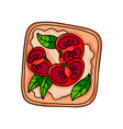 fresh tasty sandwich with fish sauce and cutted vector image vector image