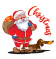 funny cartoon santa claus with sack presents vector image vector image