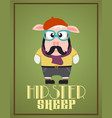 Funny hipster sheep vector image