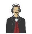 gentleman with headphones engraving vector image