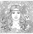 girl among corals coloring page vector image vector image
