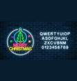 glowing neon sign with christmas tree in vector image vector image