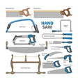 hand saw sawing equipment hacksaw chainsaw vector image