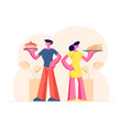happy couple male and female characters holding vector image vector image