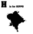 Hippo with jackhammer silhouette vector image vector image