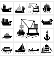 icon set ship and boat vector image