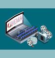 isometric cinema icon vector image vector image