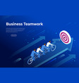isometric goals setting for business team vector image vector image