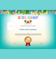 kids summer camp diploma or certificate template vector image vector image