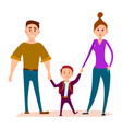 little kid stands with heavy daddy and shapely mom vector image