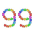 number 99 ninety nine of colorful hearts on white vector image vector image