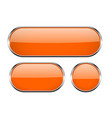 Orange oval glass buttons with metal frame set of vector image