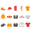 orange red color series men fashion icons set vector image vector image