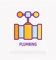plumbing valve on pipe thin line icon vector image