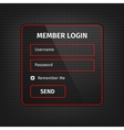 red member login ui on black background vector image vector image