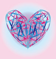 red pink blue heart icon color polygon background vector image vector image