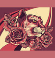 roaring puma head and roses vector image vector image