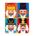 set of nutcracker toy isolated icon vector image