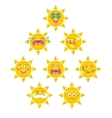 Set of yellow smile faces of sun vector image vector image