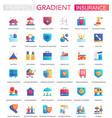 set trendy flat gradient insurance icons vector image