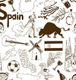 Sketch Spain seamless pattern vector image