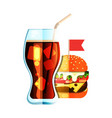 soda and burger flat design color icon vector image vector image