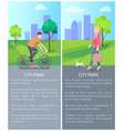 two colorful city park posters vector image vector image