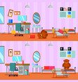 untidy and cleaned teen room vector image vector image