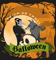 werewolf holding skull with the vampire halloween vector image vector image