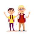 happy friends waving hands free time after school vector image