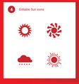 4 sun icons vector image vector image