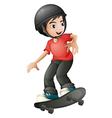 A boy skateboarding with a helmet vector image vector image