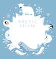 arctic circle frame animals people vector image