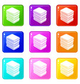 arranged clothes icons set 9 color collection vector image
