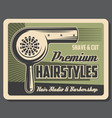 barbershop service hairstyles shave and cut vector image