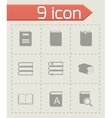 black book icons set vector image vector image