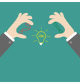 Businessman hands holding contour idea light bulb vector image vector image