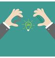 Businessman hands holding contour idea light bulb vector image vector image