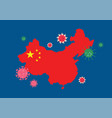 china map country with coronavirus vector image vector image