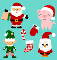 christmas icons collection santa new year vector image