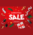 christmas sale poster template with vector image vector image