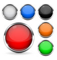 colored buttons with chrome frame round glass vector image vector image