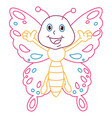 coloring page of cartoon butterfly vector image vector image
