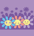cute flowers cartoons vector image