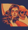 dead girl with skull art vector image
