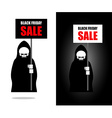 Death holds banner Black Friday sale Grim Reaper vector image vector image