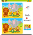 find differences with cartoon animal characters vector image vector image