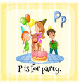 flashcard p is for party vector image